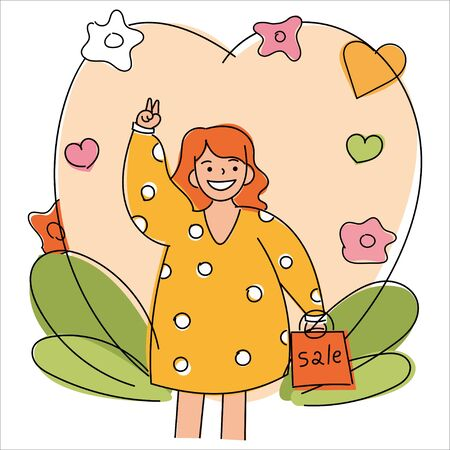 Happy shopper. The girl holds packages. Big Sale. Vector illustration of a flat design. isolated young caucasian girl waving her hand, greeting and smiling. Vectores