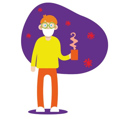 Wuhan sick with flu. Young man having a cold, holding medicines and a cup, cartoon style. Winter flu season. Vector of A Man Wearing a Protective Mask to Protect Covid-19 or Corona Virus Outtbreak. illustration eps10