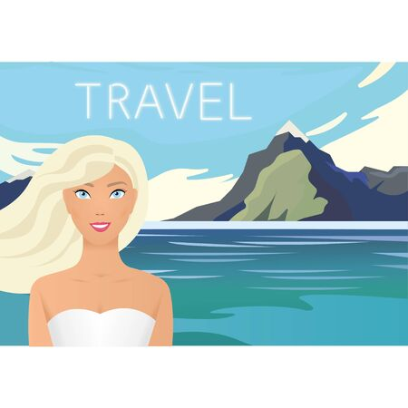 Summer landscape - blue mountains with forest and calm river on a sunset cloudy sky background. Nature vector illustration. Summer holidays concept. Female character wearing swimsuit, walking on the beach. Sea, sky, girl. Vector illustration Vectores