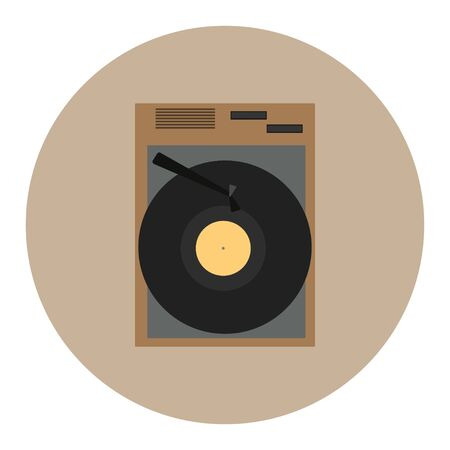 Vintage retro vinyl record player or gramophone isolated icon vector illustration