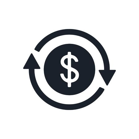 Icon of dollar sign in circle made of arrows. Coin with dollar sign simple on white background. Vector illustration. Vectores