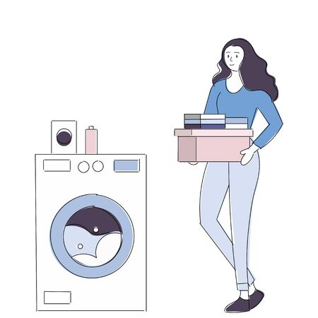 Young housewife is doing laundry with washing machine at home. illustration - white washing machine with a front loading. Vector eps10 Vectores