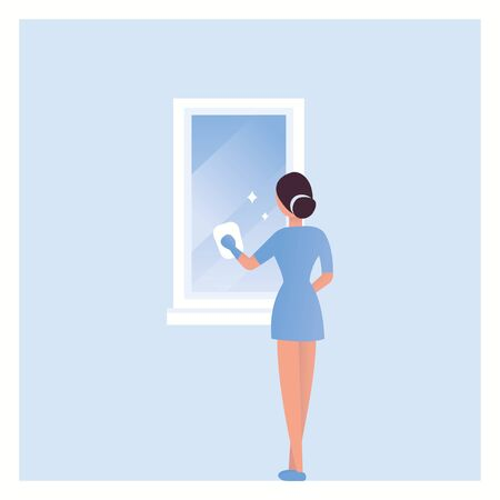 House cleaning. A girl washes the mirror in the bathroom. Vector. Woman clean the mirror. Domestic work, cleaner in uniform working. Housewife wash bathroom element. Isolated illustration in flat style eps10