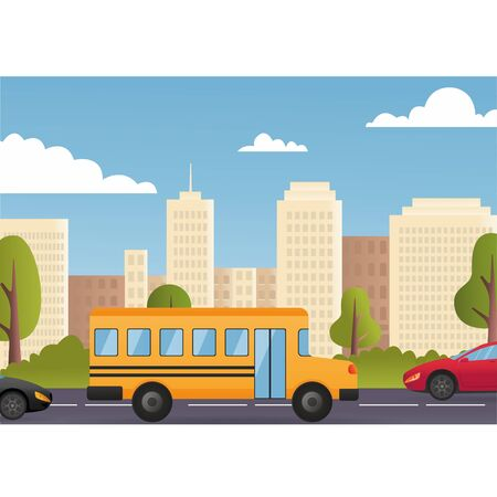 Cars Driving City Street Panorama Urban Road Flat Vector. Car traffic jam vector Illustration. Yellow school bus. Cute cartoon school bus. Modern city on background. Back to school concept. Esp10 Vectores