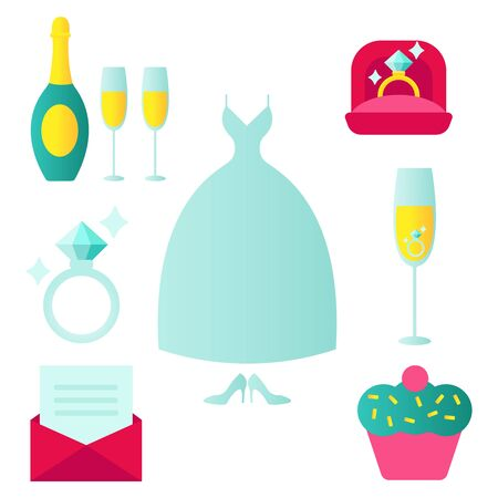 Set of wedding icons in flat style with an invitation or love letter wedding dress food champagne cake gift church rings jewellery shoes. illustration vector eps10
