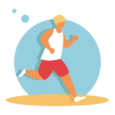 Full length portrait of a fitness man running isolated on a white background. Man running, flat vector illustration. Sportive man cartoon character. Fitness club, gym tool. Eps