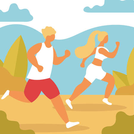 Happy couple running around in the park. Man and woman is engaged in fitness. Morning jogging. Active and healthy lifestyle. Vector illustration in cartoon style. Men and women dressed. Sports competition, outdoor workout or exercise, athletics. Flat cartoon colorful. Eps