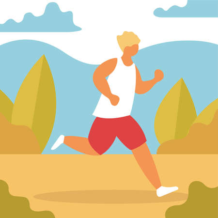 Man jogging in the park. Active and healthy lifestyle, outdoor activity. Athlete on marathon. Isolated flat vector illustration. Sports competition, outdoor workout or exercise, athletics