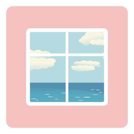 Blue sea and beach behind open window - illustration of summer vacation. vector sea outside window. Stay at home Vectores
