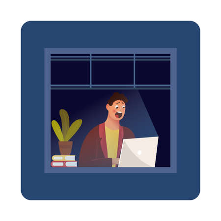 Funny Cartoon Character. Hipster Sitting in the Room and Working with Laptop. Vector. Night owl person flat vector illustration. Man working at home during the night while rest of neighbours are asleep. Night blackout windows with lonely lit up window in the corner. Workaholic concept.