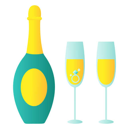 Bottle of champagne with glasses - vector drawing isolated white background Ilustração