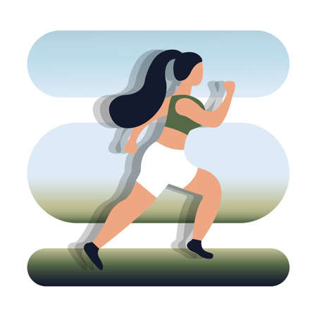 The figure shows a girl running. Runner woman isolated. Running fit fitness sport isolated on white background. Beautiful mixed white Caucasian fitness girl training. Vector illustration Ilustração