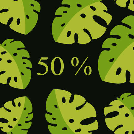 Summer sale announcement background with leaves, stem isolated on black backdrop. Minimalistic style floral background. Discount text offer 50 percent. on-line cosmetics shop, fashion beauty shop, store. Ilustração