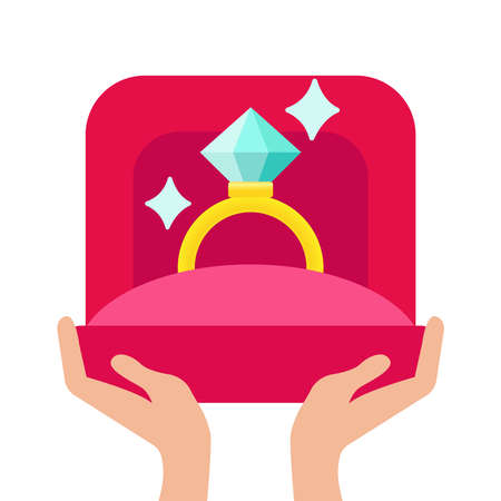 image of wedding rings in a gift box on white background. Vector modern flat concept design featuring hand holding proposal ring in red box Abstract illustration background showing hand with proposal golden ring Ilustração