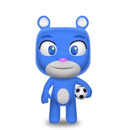 futbol: Blue Teddy Bear with Soccer Ball