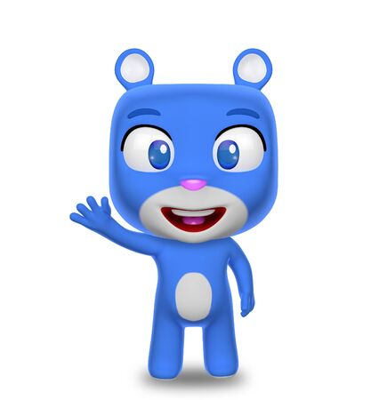 Blue Teddy Bear Waving