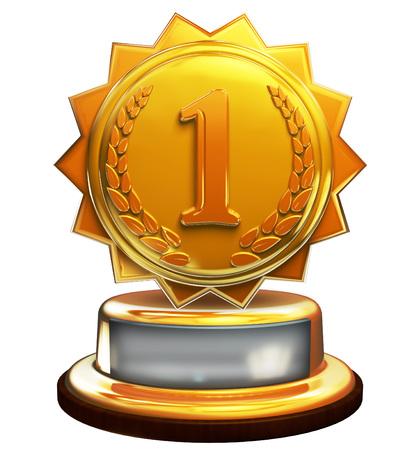 Eerste plaats gouden award, nummer één Stockfoto