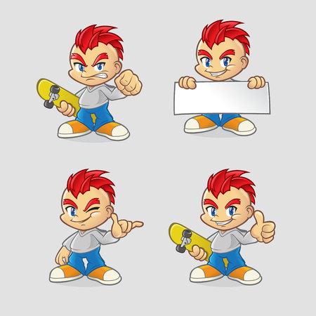 Cartoon Urban Skater Kid Set