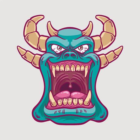 Blauwe Monsterillustratie die met wijd open mond glimlacht