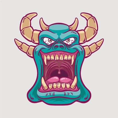 Blue Monster Illustration Smiling with Mouth wide Open