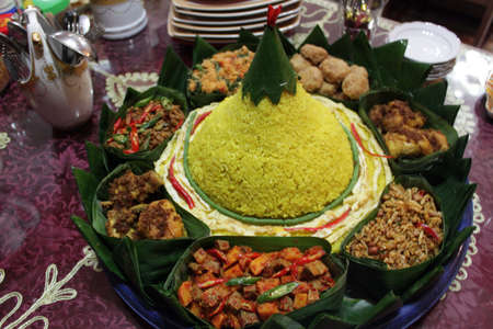 indonesian food: Its traditional Indonesian food called TUMPENG RICE.