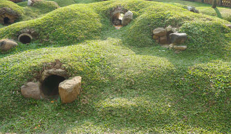 Rabbit house in the form of holes and mounds