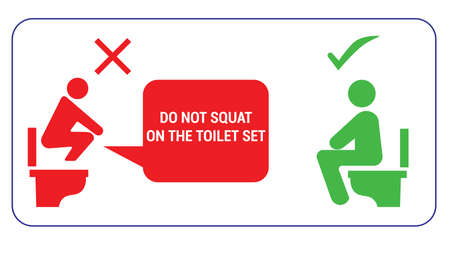 do not squat on the toilet and sitting on toilet banner sign, yes and no