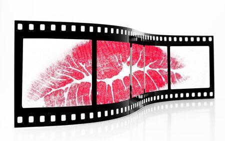 Old Grainy film strip with lipstick kiss