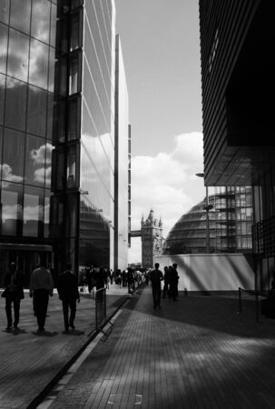 Busy business people in the city of London Stock Photo