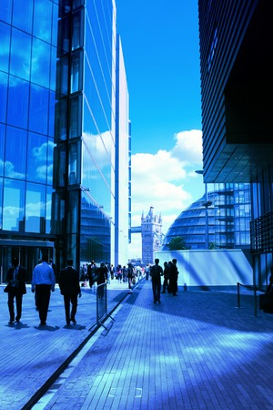 View of busy businessmen in London city