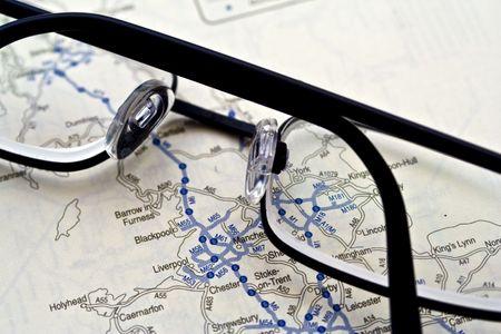 uk map: UK map with glasses Stock Photo