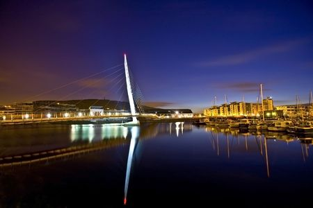 cymru:  night shot of swanseas sail bridge