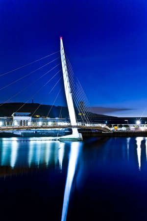 cymru: swanseas sail bridge at night Stock Photo