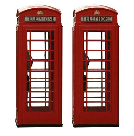 Deux classiques britanniques cabine t�l�phonique rouge, isol� sur un fond blanc