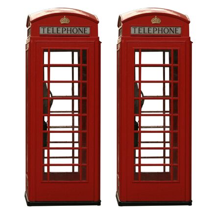 Two classic red British telephone box, isolated on a white background Stock Photo - 2388656