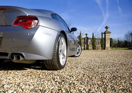 Sliver Sports Car on driveway Stock Photo - 2586180