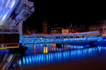 Night view of Londons House of Parliament from under the London Eye photo