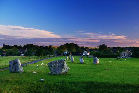 wiltshire: Avebury stones in Wiltshire Stock Photo