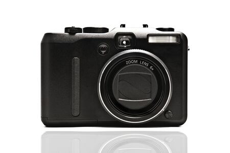 point and shoot: Front of a digital camera, isolated on white