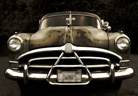 bw: Old Hudson Car