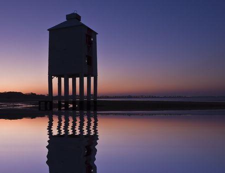 brean beach: Burnham-on-sea nine leg low lighthouse at dawn