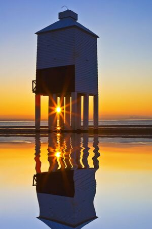 burnham: Burnham-on-sea nine leg low lighthouse at sunset