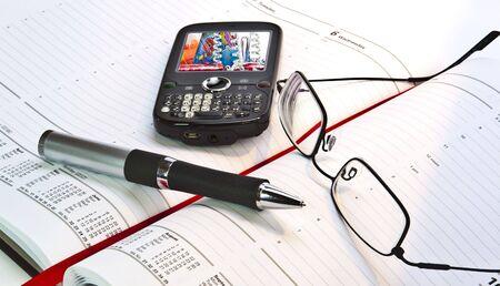 Day Planner avec le stylo et le t�l�phone