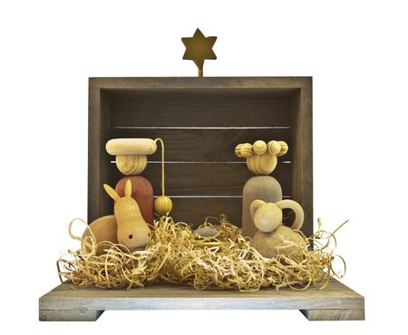 A nativity scene with the stable Isolated over white