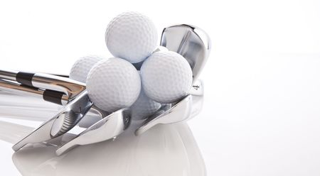 golf stick: Golf Clubs and Balls Stock Photo