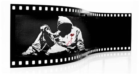 Banksy Hoodie with Knife Graffiti film strip photo