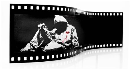 Banksy Hoodie with Knife Graffiti film strip