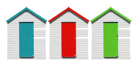 panoramic beach: Beach Huts Isolated