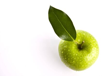 Fresh Green Apple on white background with copy space