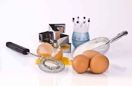 Cooking with eggs and flour photo